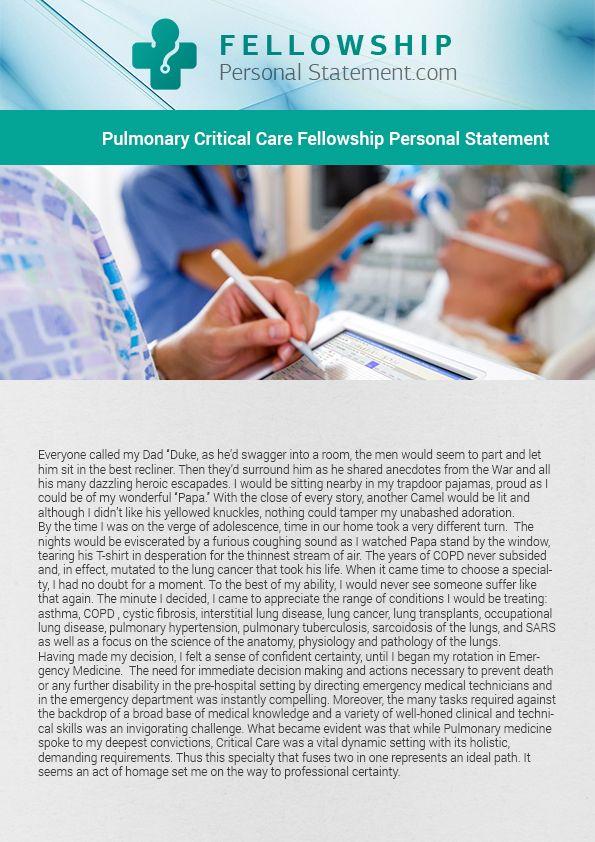 Pulmonary Fellowship Personal Statement Pulmonary Fellowship - fresh 10 medical personal statement examples