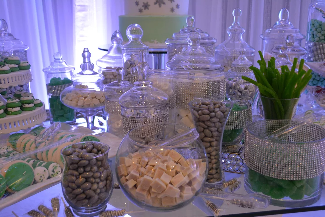 Candy buffet for Frozen themed Quinceanera