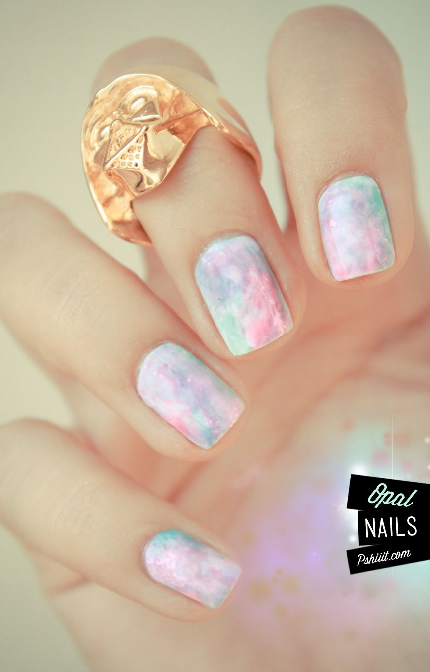 Opal nails! Love it! See the tutorial (in French) http://pshiiit.com/2012/04/13/tuto-video-aquarelle-pastel-pierres-precieuses/