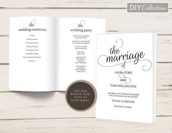 Rustic Folded Wedding Program Template Kraft Wedding Programs - Editable wedding program templates
