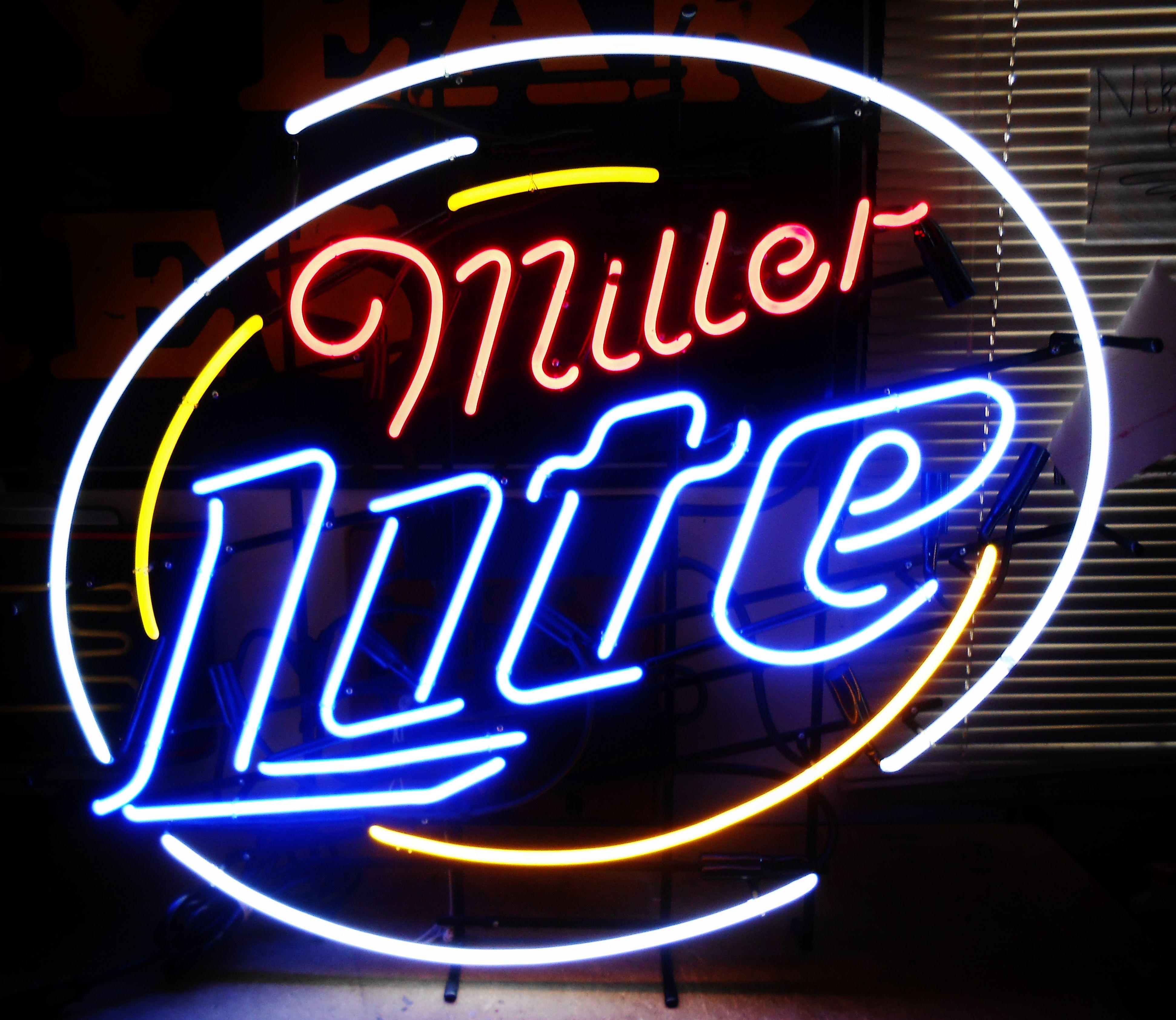 Vintage Stadium Lights: Large MILLER LITE Neon Bar Sign, Circa 2002
