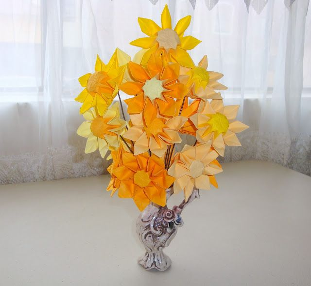 Origami Sunflower Paper Flowers Pinterest Origami Origami