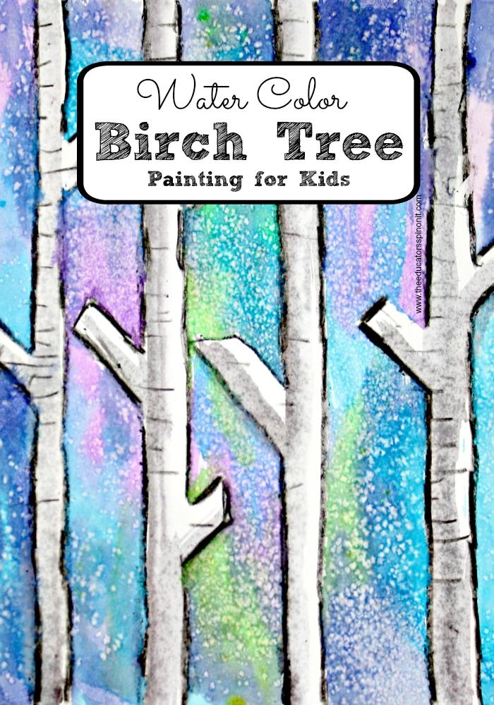 Easy Birch Tree Painting with Kids Winter art Birch and Art