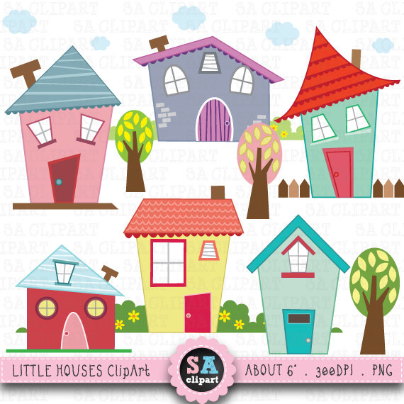 "Little Houses Digital Clip Art ""HOUSES CLIP ART"" Set ..."