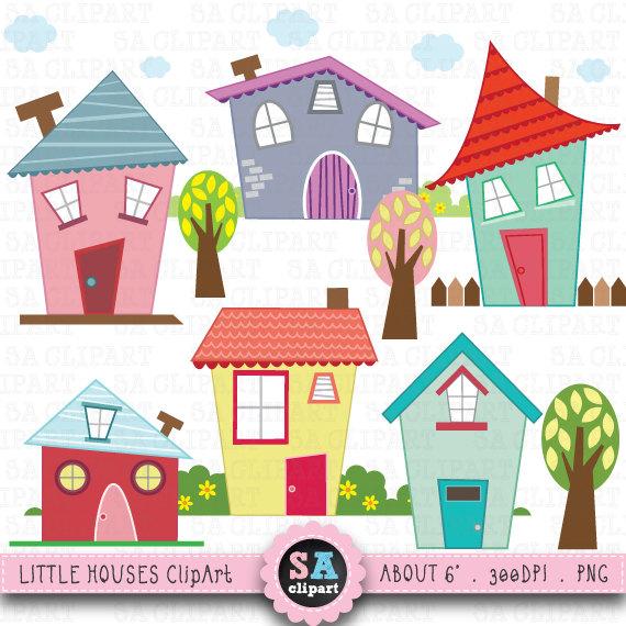 Little houses digital clip art houses clip art set for Stationary tiny houses for sale