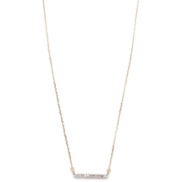 Adina Reyter Pave Bar Necklace ($300) ❤ liked on Polyvore featuring jewelry, necklaces, gold, 14k necklace, pave jewelry, bar pendant necklace, thin necklace and druzy jewelry