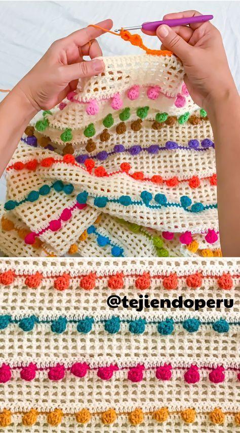 Punto pompón tejido a crochet! Crochet pompom stitch :) video ...