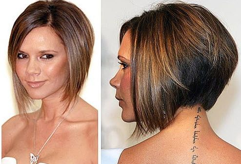 pictures of short bob haircuts front and back | Victoria Beckham wth bob hairstyle front and back-view
