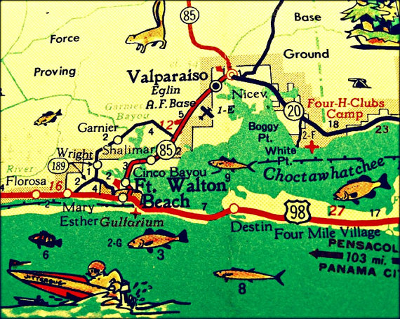 New Vibrant Photograph Of A Vintage Florida Map Destin And Ft Walton Beach Area With Retro Sdboat Cool Fish Jumping Is Altered