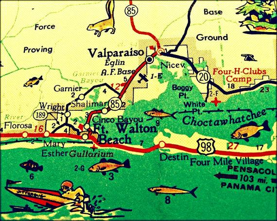 Map Of Fort Walton Beach Florida.Vintage Map Art Of Destin Florida 8x10 Retro Map Ft Walton Beach