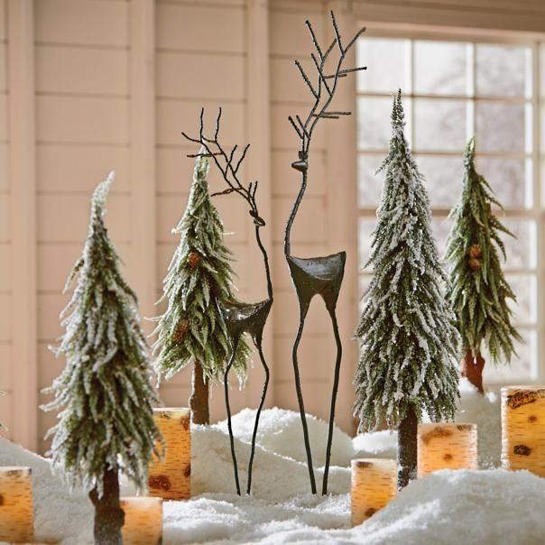 Set Of Two Metal Reindeer White Christmas Decor