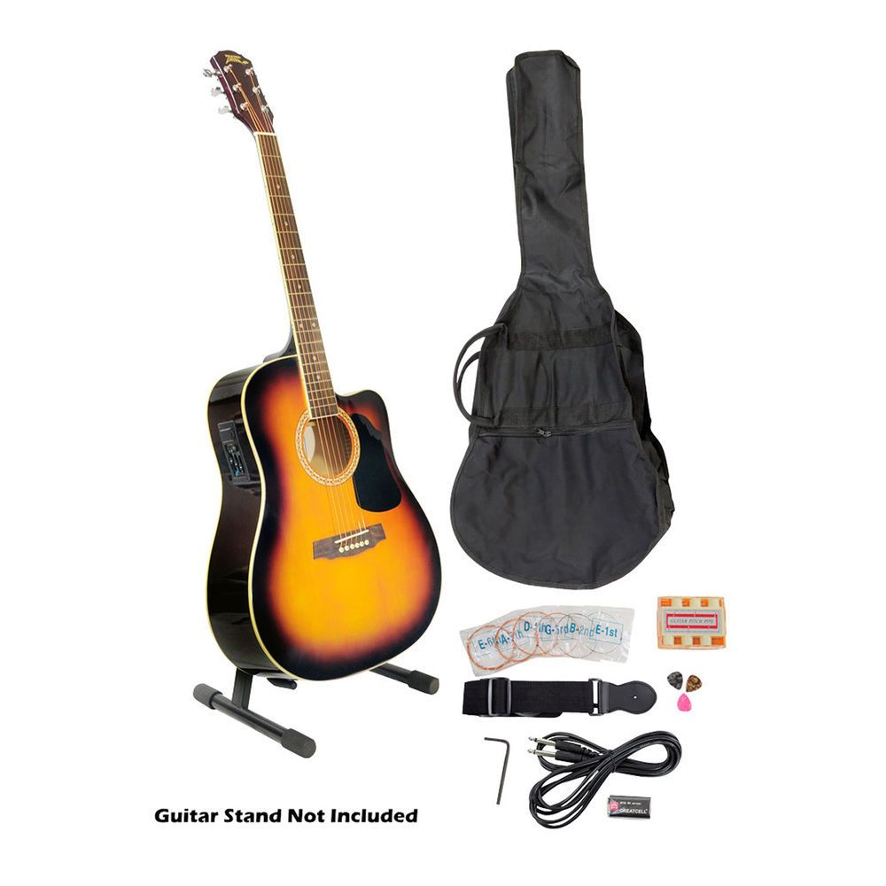 41 Acoustic Electric Guitar Package With Gig Bag Strap Picks Tuner And Strin Pyle Electric Guitar Kits Guitar Kits Acoustic Electric