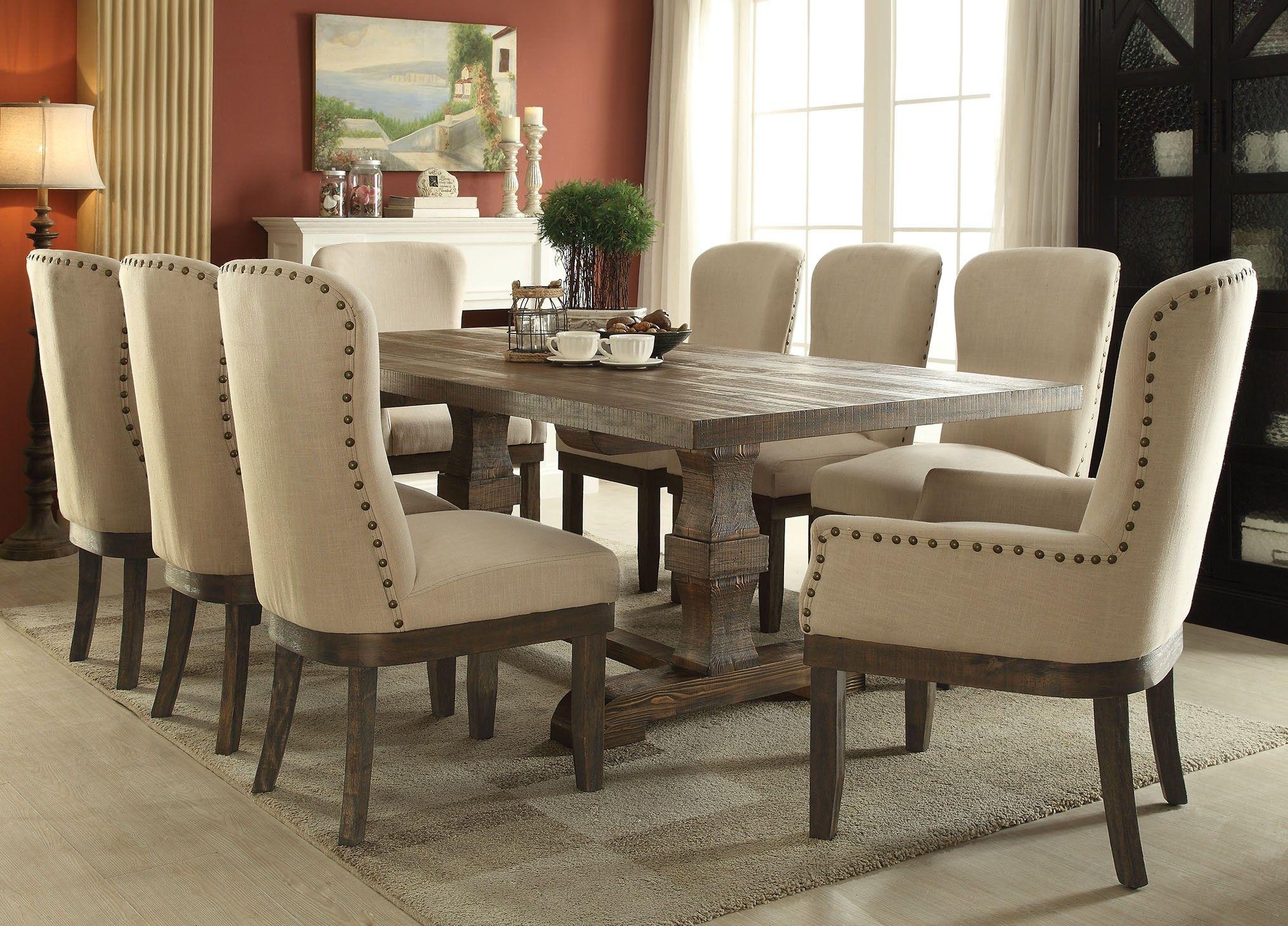 Acme 60737 Landon 7 Pcs Salvage Brown Pedestal Dining Set With