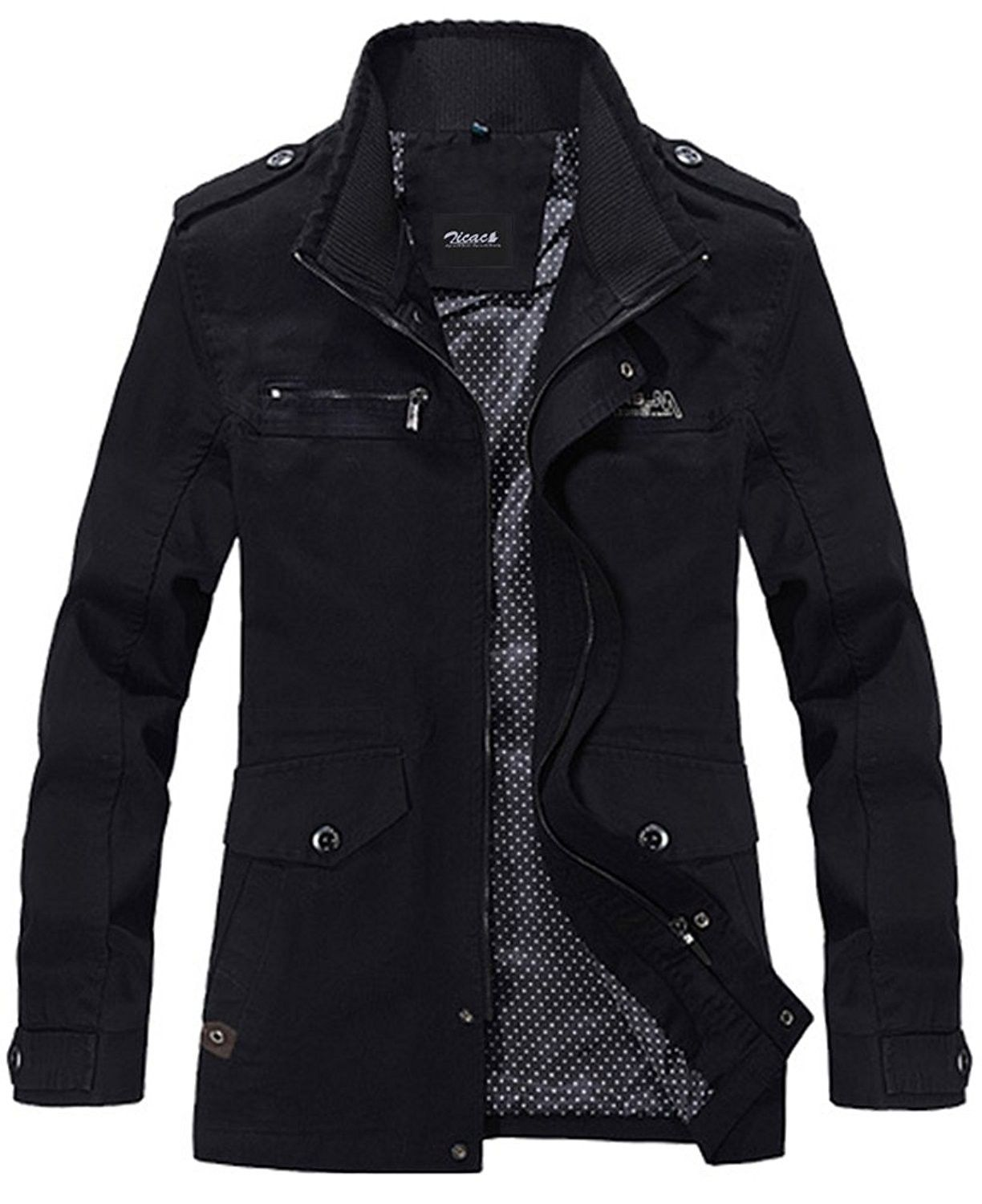 Men S Cotton Military Jacket Casual Stand Collar Front Zip Coat Black Cu121xxmgd3 Mens Outerwear Jacket Men S Coats And Jackets Mens Outfits