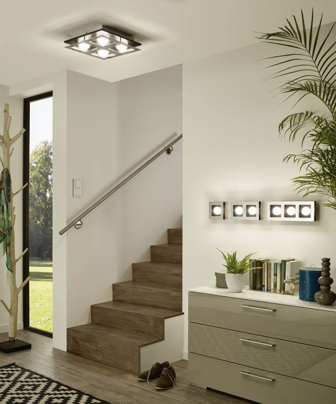 EGLO BELLAMONTE LED Wand & Deckenleuchte, 2-flg. chrom, schwarz ...