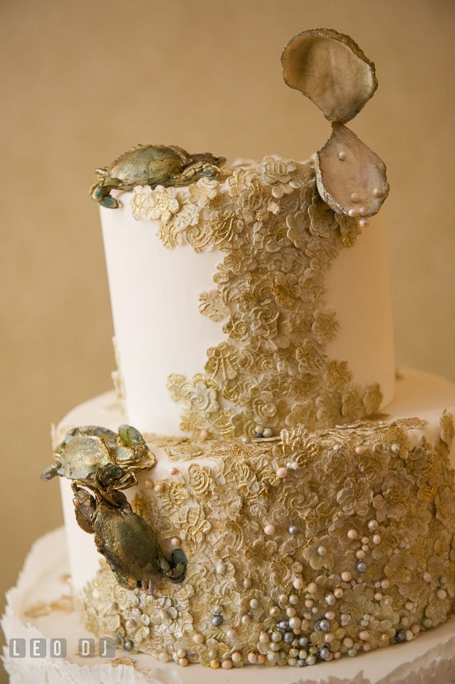 Custom made edible crabs and oyster shells on the wedding cake by custom made edible crabs and oyster shells on the wedding cake by maggie austin aspen wye river conference centers wedding at queenstown ma junglespirit Images