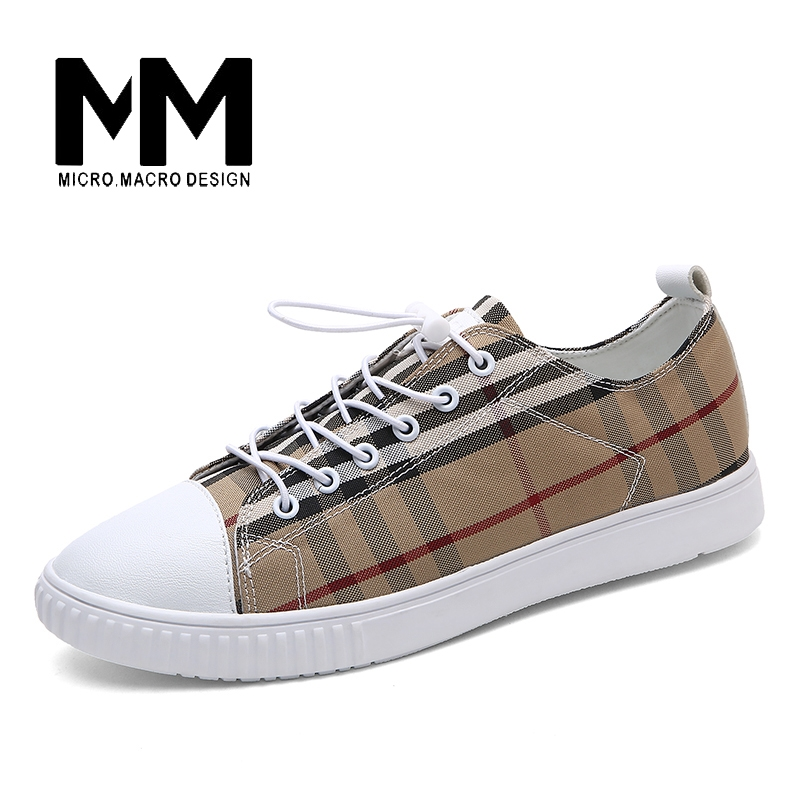 44.21$  Buy here  - MICRO. MACRO Men Casual Shoe 2017 Spring New Design Linghtweight Breathable Comfortable Fashion flat shoe  men shoe Gingham 6918