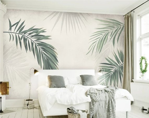 Simple Creative Hand Painted Tropical Leaves Wall Mural Wallpaper, Palm Leaves Wall Mural Wallpaper, Palm Leaf Wallpaper