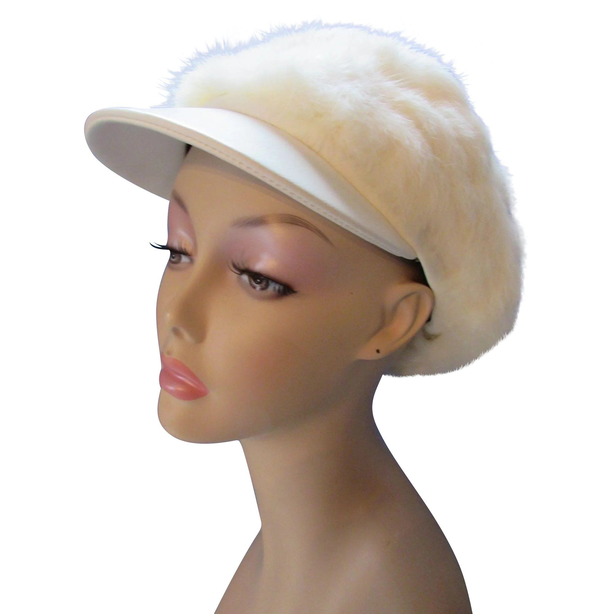 Mod Style White Rabbit Fur Visor Cap from Sears Fashions Winter Hat with  1970 Vibe www bf023964332