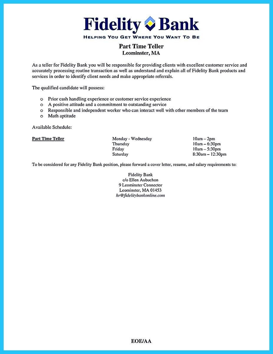 Pin On Resume Template    Bank Teller