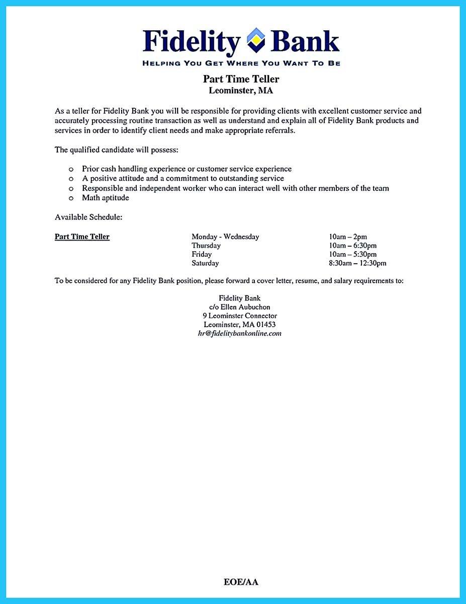 Pin On Resume Template    Bank Teller
