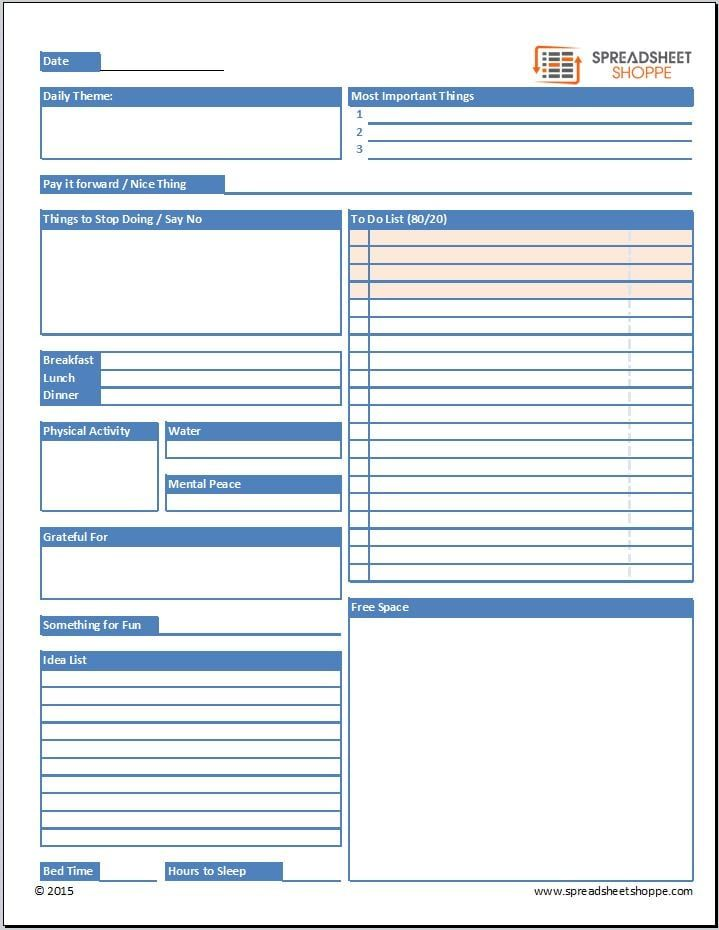 Daily Planner Template Personal Improvement Pinterest - daily project status report template