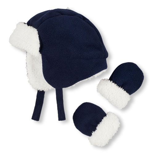 32653c2a91d Newborn Baby Boys Solid Trapper Hat And Mittens Set - Blue - The Children s  Place