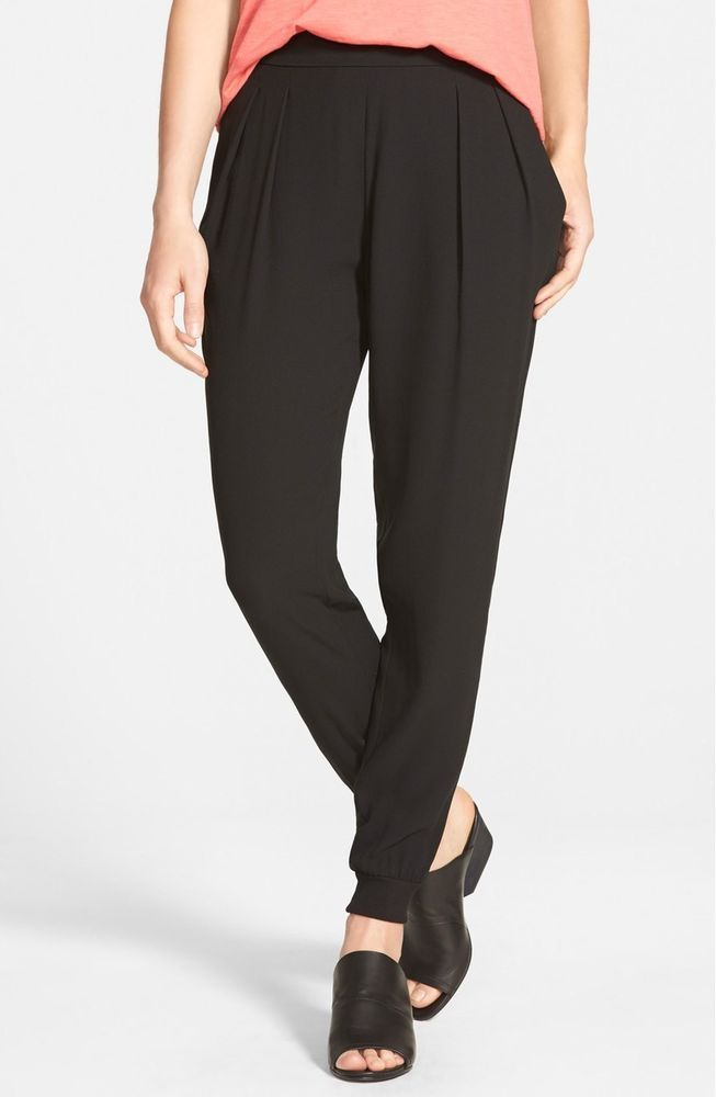 6a0d13b53cd NWT Eileen Fisher Black Silk Georgette Crepe Rib Cuff Ankle Pants Size  Medium  EileenFisher  Anklepants