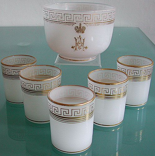 Not much Russian antique glass survived the harsh times in Russia, especially the milk glass and even more important the glass that was used by Gran Duke Nikolay Alexandrovich later Emperor Nicholas II. Here is set of 5 glasses and one bowl with gilt monogram of Grand Duke Nicholas Aleksandrovich later Nicholas II. The set was made by the order of his father Aleksandr III at Imperial Glass Factory ca. 1883 when Nicholas became 15 years old.