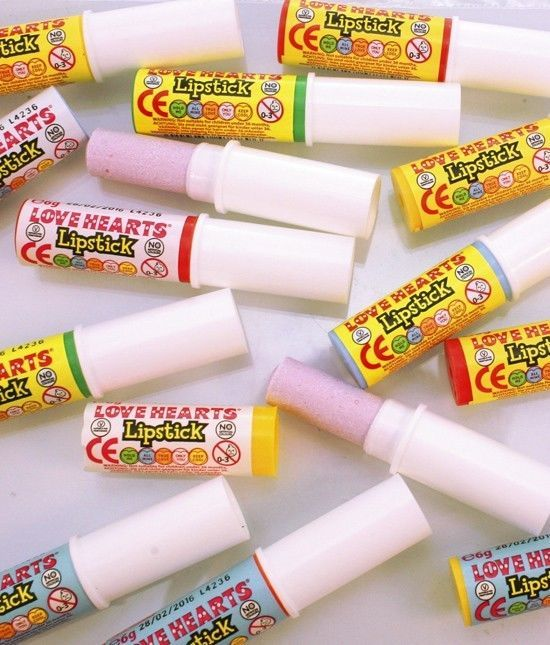 10 Loveheart Candy Lipsticks party bag filler Retro Loveheart Candy Lipsticks
