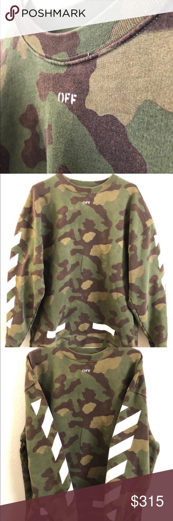Off White Camo Crewneck White Camo Clothes Design Sweatshirt Tops [ 1740 x 580 Pixel ]