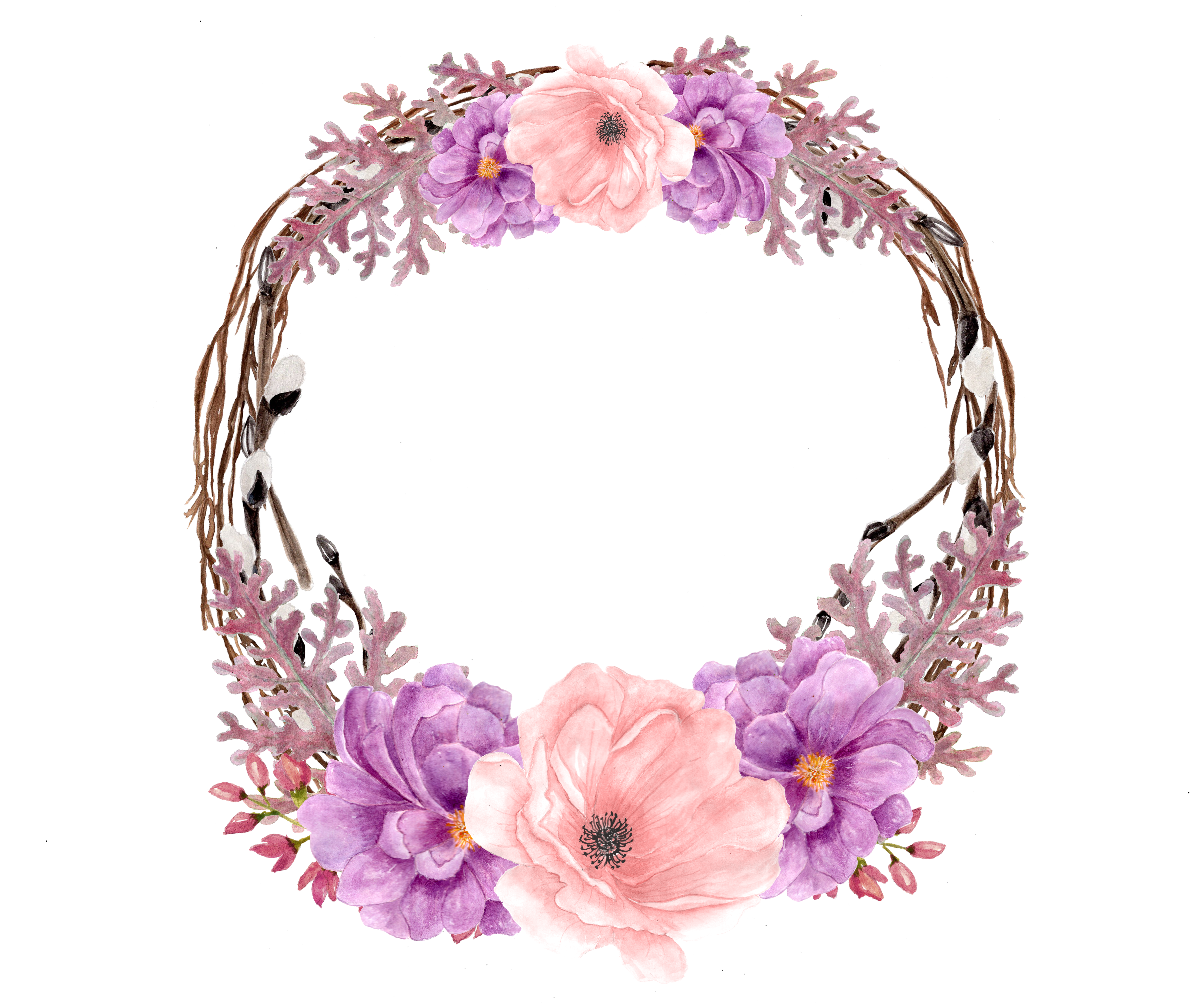 Pin by pearl on Flowers pics Purple wreath, Vector