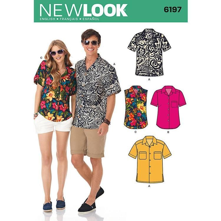 New Look 6197 Unisex Shirt X Small - X Large | Mens shirt pattern ...