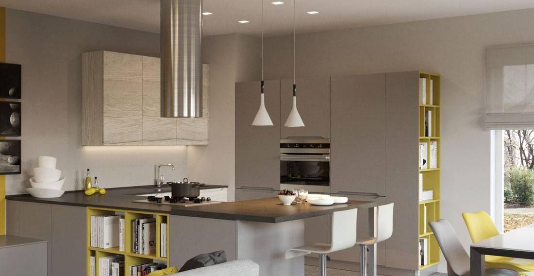 PRATICA - Cucina ad angolo con bancone snack e libreria #kitchen ...