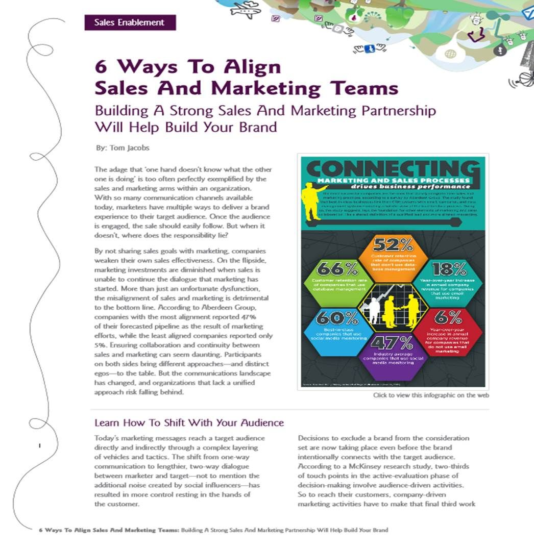 6 Ways to Align Sales And Marketing Teams http://info.jacobsagency.com/align-sales-marketing