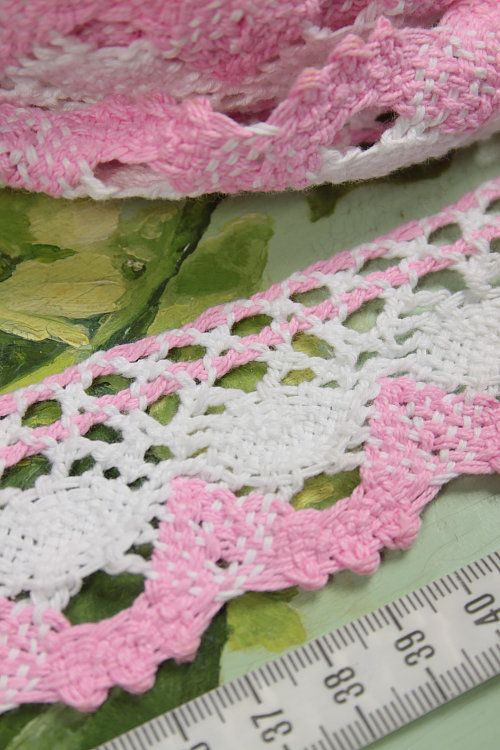 Vintage Home - Pink and White Cotton Crochet Trim 18 metres.