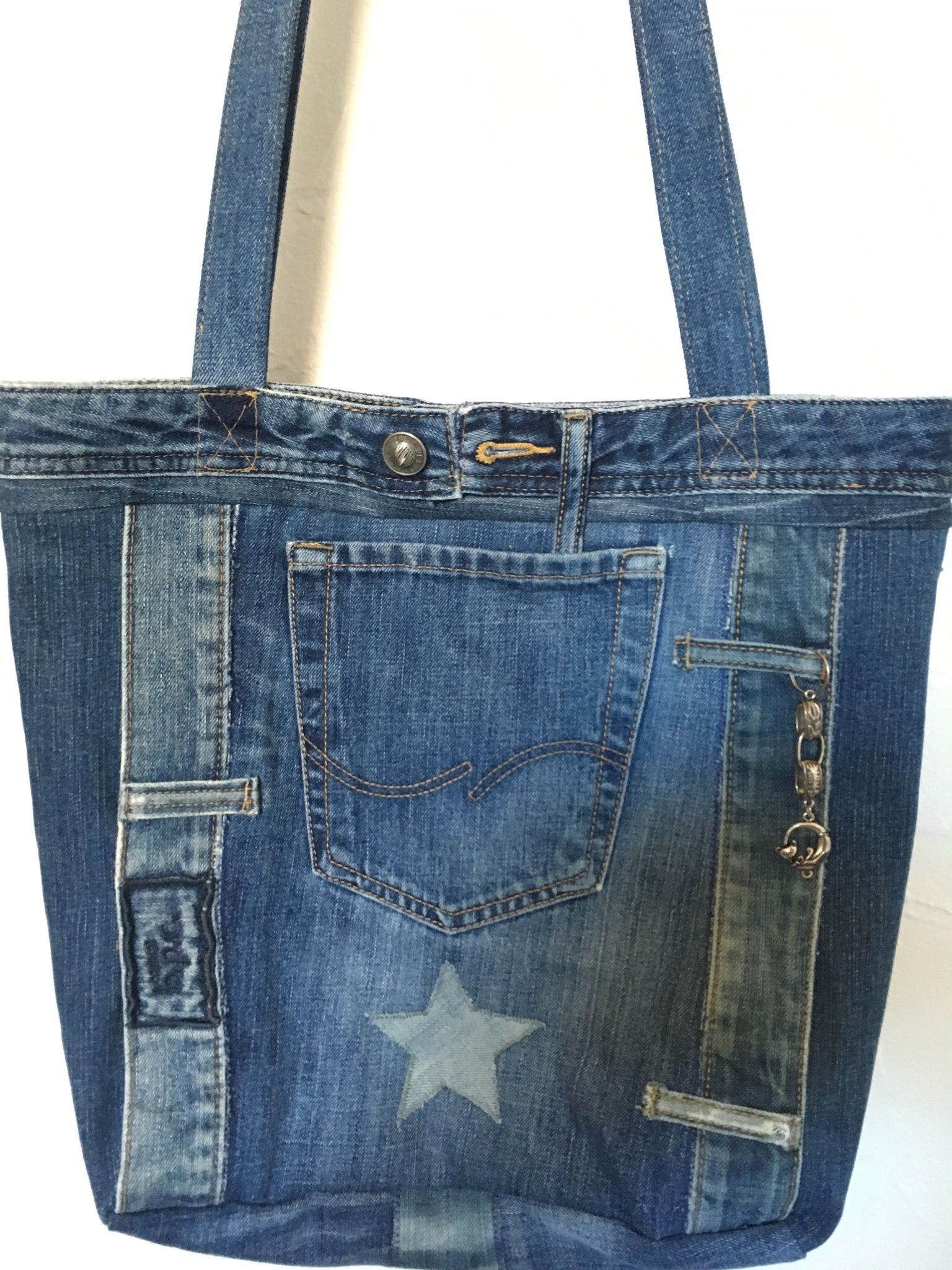 Denim tote made mostly from Tommy Hilfiger repurposed jeans