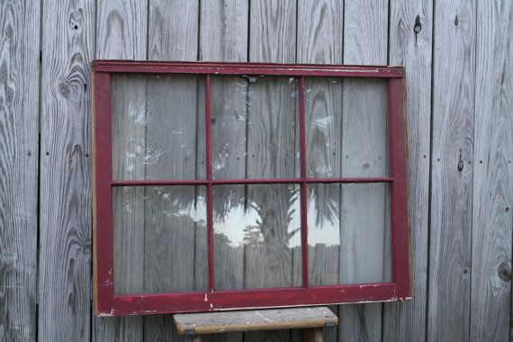 Large Old Wood Window 6 Pane Red Vintage By Creeklifetreasures Old Window Barn Red Architect Salvag Window Photo Frame Greenhouse Frame Old Window Frame