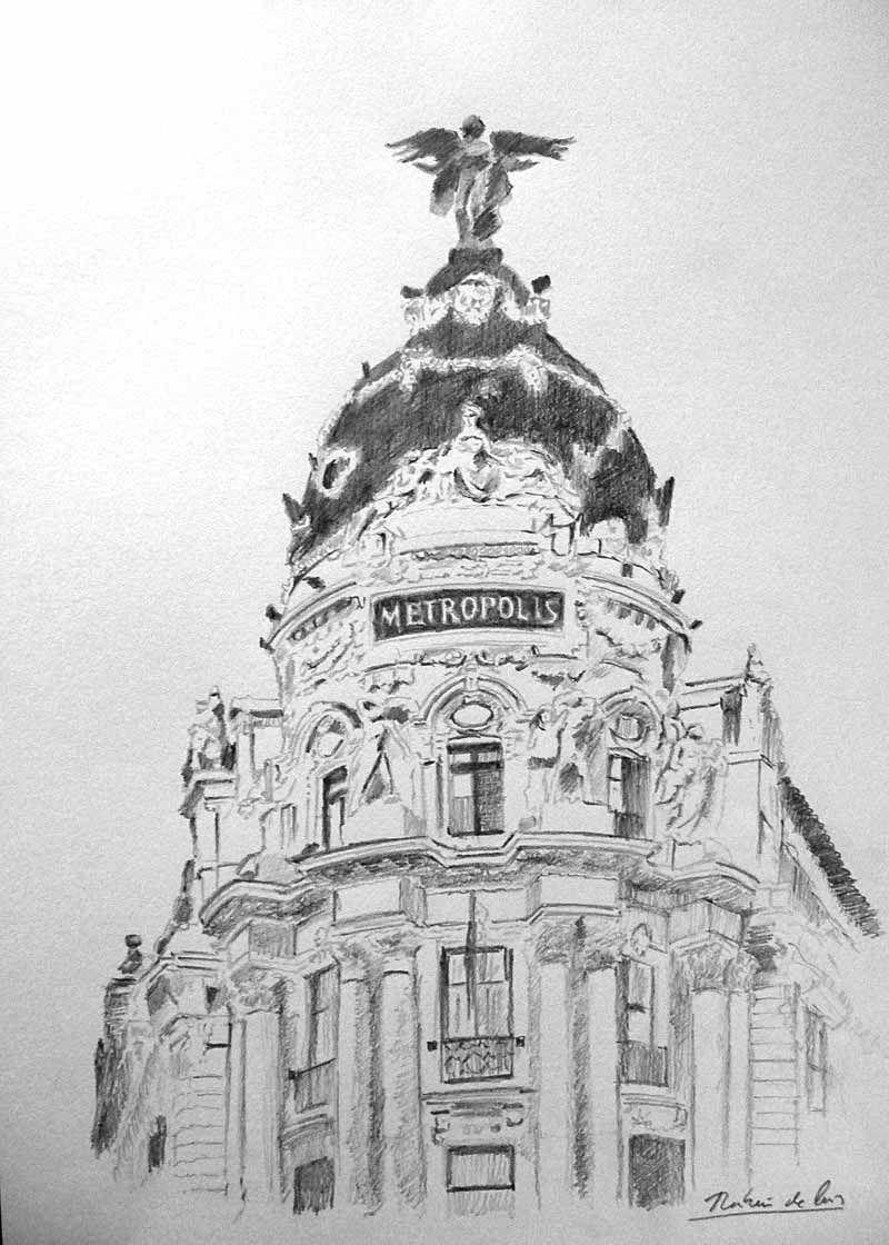 Edificio de Metrpolis Gran Va Madrid Dibujo de Rubn de Luis