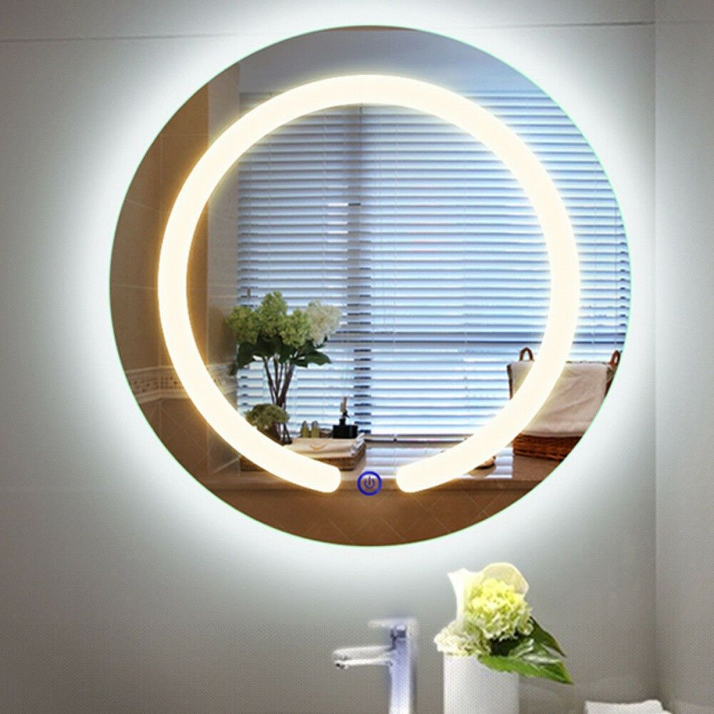Bathroom Led Mirror Wall Mount Round Touch Button Prelit Lights Glass Home 20 In Homesupplies Contempo Round Mirror Bathroom Led Mirror Lighted Vanity Mirror