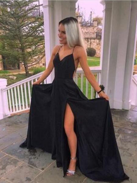 Elegant Black Spaghetti Strap V-Neck Backless Side Slit Long Evening Prom Dresses, BW0539 Elegant Black Spaghetti Strap V-Neck Backless Side Slit Long Evening Prom Dresses, BW0539