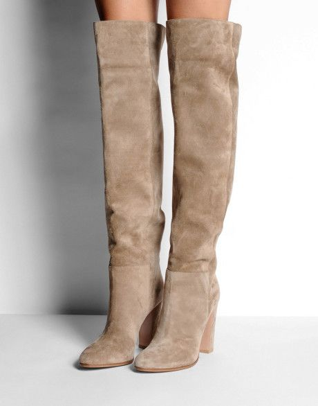 3626dc35686 Gianvito rossi Suede Over-The-Knee Boots in Beige