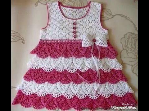 Vestido para Niña con Canesú tejido al Crochet - YouTube | Amarillo ...