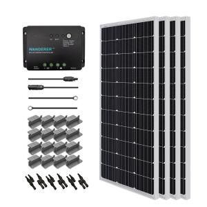 Renogy 400 Watt 12 Volt Monocrystalline Solar Starter Kit For Off Grid Solar System Starter400d Wd The Home Depot Off Grid Solar Best Solar Panels 12v Solar Panel