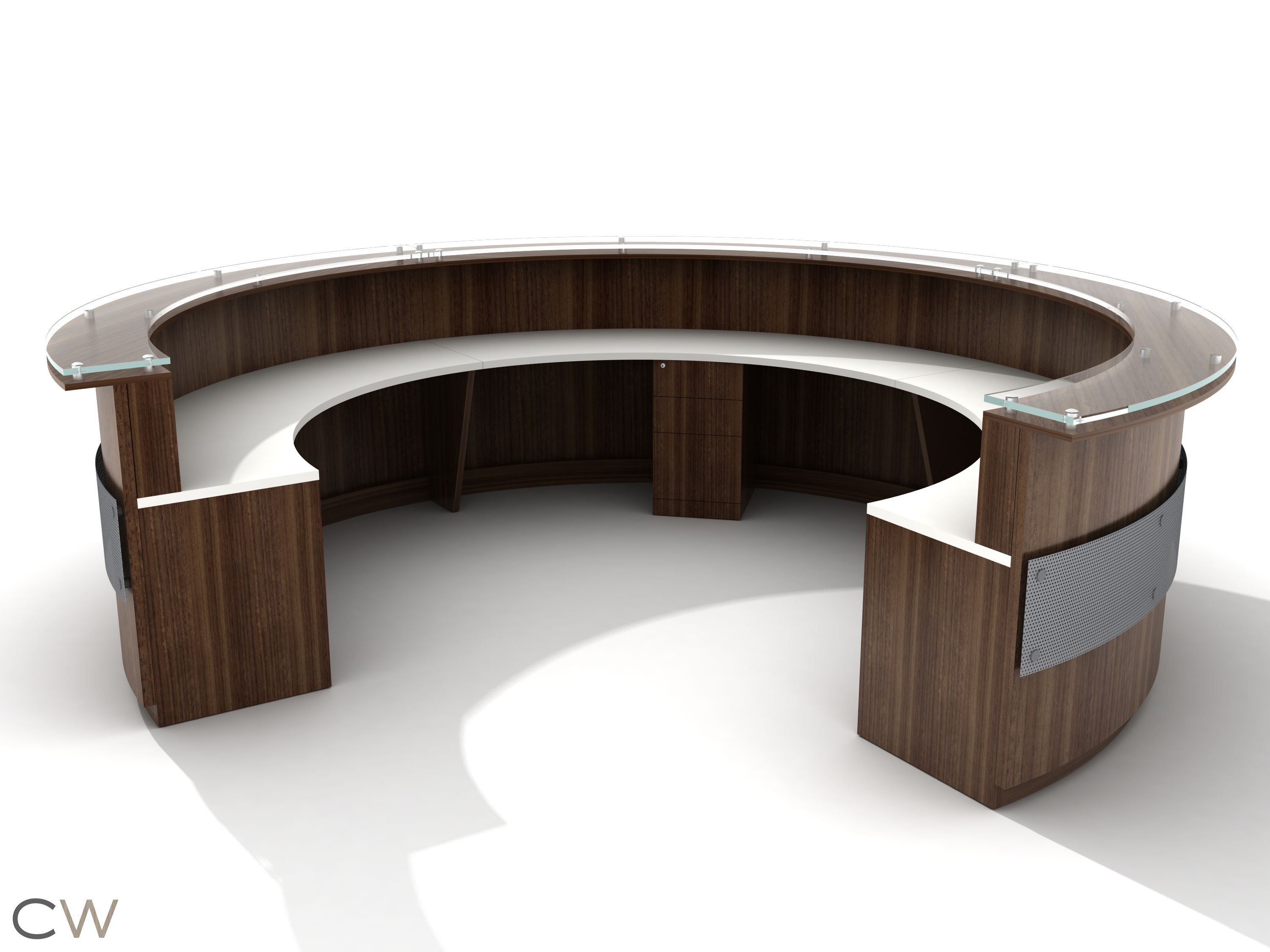 circular office desks. Inside View- Full Circular Greeting Desk With Floating Screen Accent Office Desks