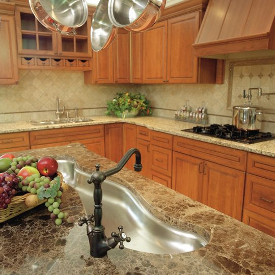 Granite Kitchen Countertops With Backsplash: St. Cecilia Granite Countertop With Dark Emperador Marble