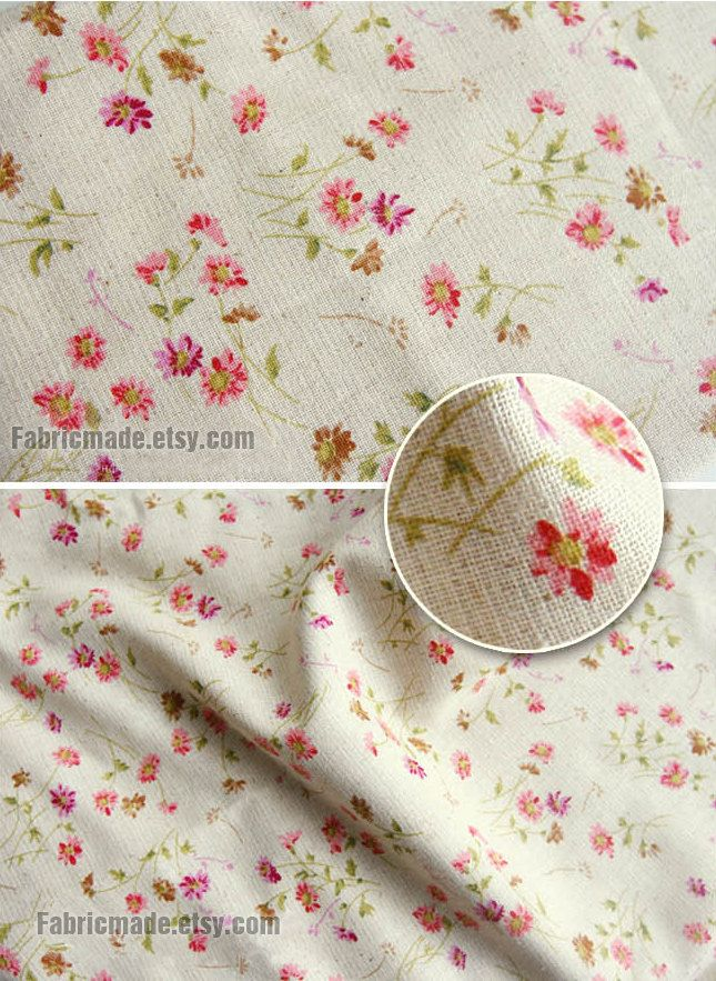 Little daisy floral fabric linen cotton shabby chic flower for Linge shabby chic