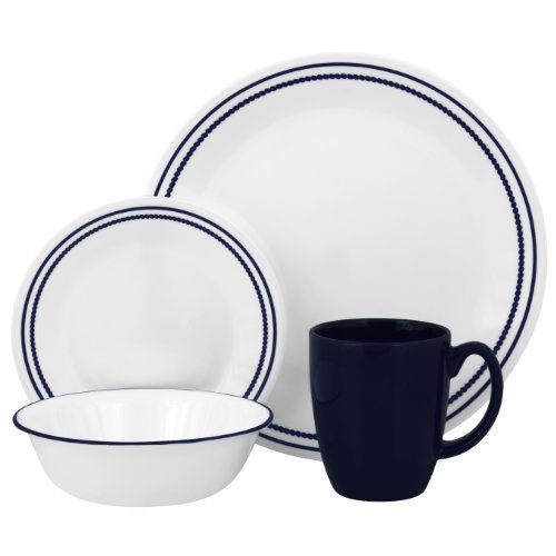 Corelle Livingware Dinnerware Set Breathtaking Blue Beads Service for 4  sc 1 st  Pinterest & Corelle Livingware Breathtaking Blue Beads 16-Piece Corelle ...