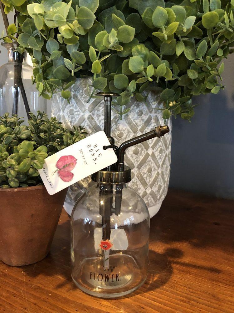 "NEW Rae Dunn Adorable Glass Watering Spray Bottle ""FLOWER"" Plant"