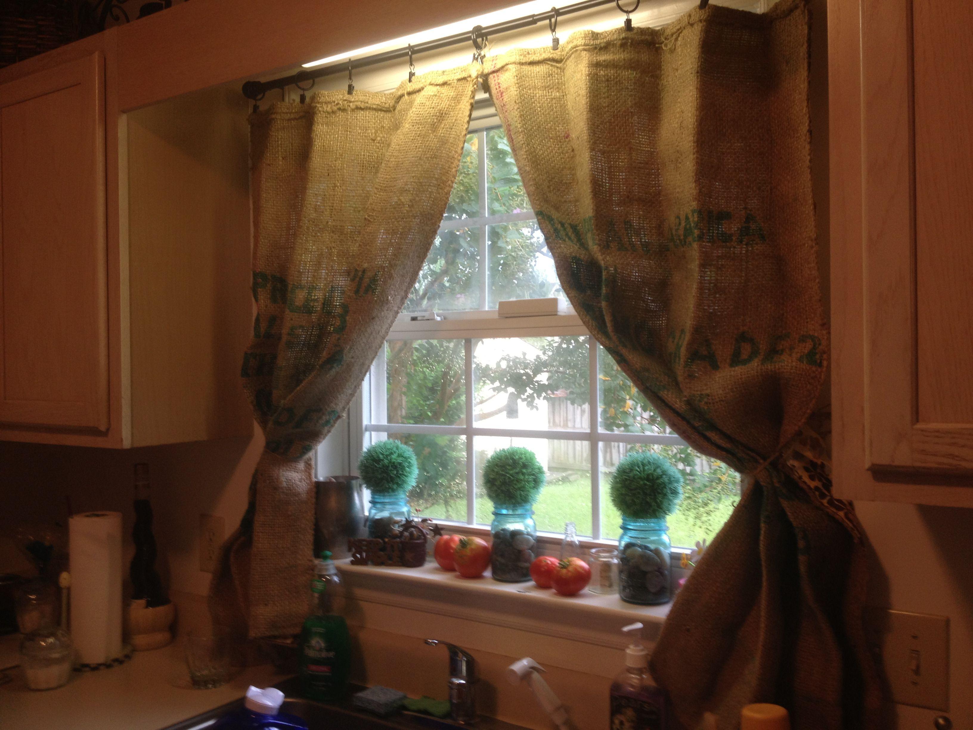 No curtain window ideas  burlap coffee bag curtains  home decor  pinterest  burlap coffee